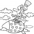 Vector of a Cartoon Uncle Sam Riding a Rocket - Outlined Coloring Page — Stock Vector #14004124