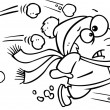 Illustration of an outlined outnumbered boy running from snowballs, on a white background. — Stock Vector #14004280