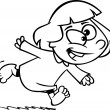 Vector of a Cartoon Excited Girl Running in Her Pajamas - Outlined Coloring Page - Stock Vector