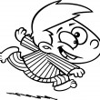 Illustration of an outlined excited boy running in his pajamas, on a white background. - Stock Vector