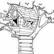 Vector of a Cartoon Pirate Boy in His Tree House Black and White Outline - Outlined Coloring Page — Stock Vector