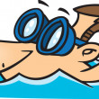 Illustration of a male swimmer wearing goggles, on a white background. - Imagen vectorial