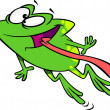Постер, плакат: Clipart Green Happy Frog Leaping With His Tongue Hanging Out