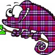Royalty-Free Stock Vector Image: Clipart Happy Cartoon Magenta Plaid Chameleon Lizard