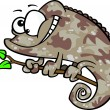 Clipart Happy Cartoon Brown Chameleon Lizard With Camouflage Patterns — Image vectorielle