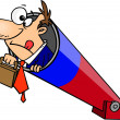 Постер, плакат: Clipart Businessman Holding His Briefcase And Prepared For Take Off In A Cannon