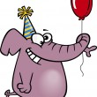 Clipart Happy Birthday Elephant Holding A Balloon — Stock Vector