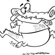 Vector of Cartoon Jogging Alligator - Outlined Coloring Page — Stock Vector #14004974