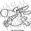 Vector of a Cartoon Happy Dog Running in the Rain During Spring Showers - Outlined Coloring Page — Stock Vector