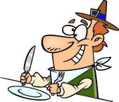 Cartoon Thanksgiving Dinner — Stock Vector