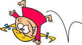 Cartoon Girl Doing Cartwheels — Stock Vector