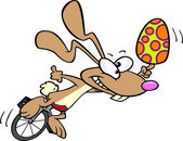 Cartoon Bunny Unicycle — Stock Vector