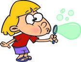 Cartoon Girl with Bubble Maker — Stock Vector