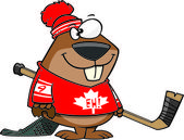 Cartoon Hockey Beaver — Stock Vector