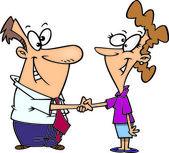 Cartoon Handshake Agreement — Stock Vector