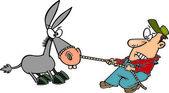 Cartoon Man Pulling a Stubborn Mule — Stock Vector