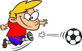 Kreskówka chłopiec kopanie piłki nożnej — Wektor stockowy