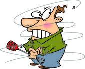 Cartoon Man Swatting Fly — Stock Vector
