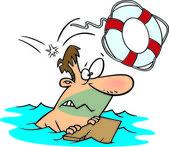 Cartoon Swimmer Rescue — Stock Vector