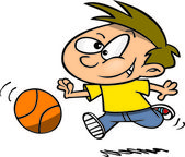 Cartoon Boy Playing Basketball — Stock Vector
