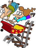 Cartoon föräldraskap rollercoaster — Stockvektor