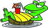 Cartoon Turtle Float — Stock Vector