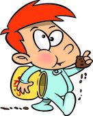Cartoon Boy Eating Cookies — Stock Vector