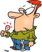 Cartoon Man with Swollen — Stock Vector