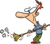 Cartoon Man Sweeping — Stock Vector