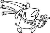 Cartoon Christmas Elf Dog — Stock Vector