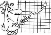 Ein höhlenmensch cartoon-manager auf einem diagramm zeigen — Stockvektor