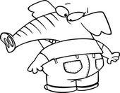 Cartoon Elephant Jeans — Stock Vector