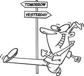 Cartoon Man Striding Into Tomorrow — Stock Vector