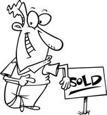 Cartoon Man Selling House — Stock Vector