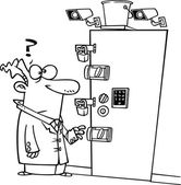 Cartoon Secure Room — Stock Vector
