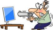 Cartoon Man Shooting Computer — Stock Vector