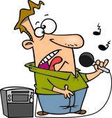 Cartoon Karaoke Singer — Stock Vector