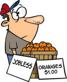 Cartoon Man Selling Oranges — Stock Vector