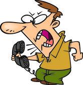 Cartoon Angry Man on Telephone — Stock Vector