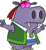 Cartoon Hippy Hippo — Stock Vector