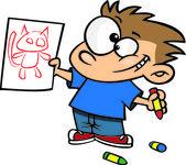 Cartoon Boy Drawing — Stock Vector