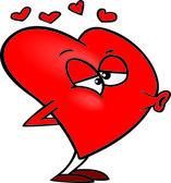 Cartoon Love Heart Puckering Its Lips for a Kiss — Stock Vector