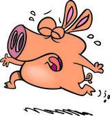 Cartoon Pig Crying — Stock Vector