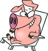 Porco dos desenhos animados relaxante — Vetor de Stock