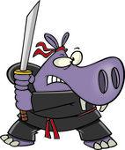 Cartoon Samurai Hippo — Stock Vector