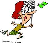 Cartoon kvinna jaga pengar — Stockvektor