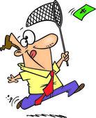 Cartoon Man Chasing Money — Stock Vector