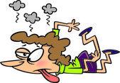 Cartoon Exhausted Woman — Stock Vector
