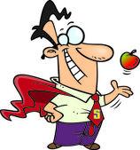 Cartoon Super Teacher — Stock Vector