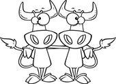 Cartoon Cow Buddies — Stock Vector